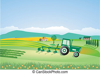 Agriculture with tractor