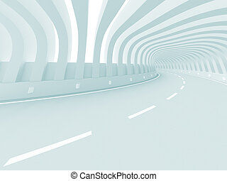 Road - 3d Illustration of Blue Futuristic Road Background