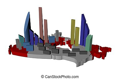 abstract skyscrapers on Canada map flag illustration