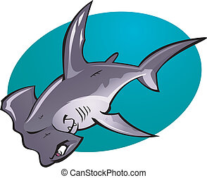Cartoon Hammer head Shark - A cartoon vector illustration of...