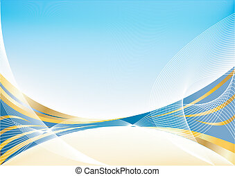 Vector abstract gold blue background