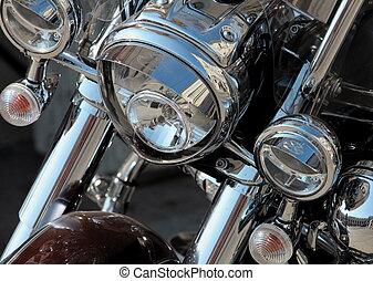 motorcycle headlights - Motorcycle headlights close-up...