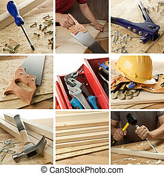 Woodwork collage - Carpentry tools, woodwork objects collage