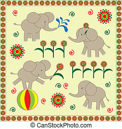 Babies elephants - Four cute Babies elephantsVector...