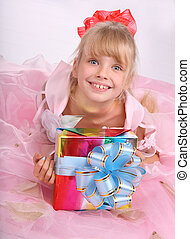 Child holding gift box. - Beautiful little girl holding gift...