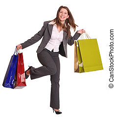 Business woman with gift bag run Isolated