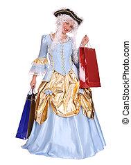Girl holding shopping bag. - Girl in carnival costume...