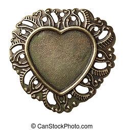 Metal frame - Heart shape vintage metal frame, isolated.