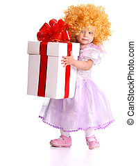 Kid girl holding gift box.