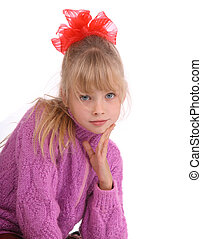 Portrait of girl in knitted sweater Isolated
