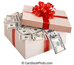 Gift box with banknote of dollar. Isolated.