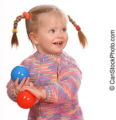 Birthday of smiling child with colored ball. - Birthday of...