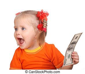 Child holding dollar money.