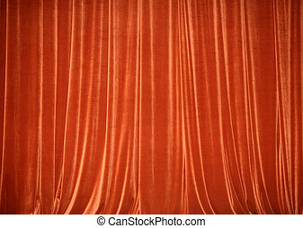 Background of red closed curtain.