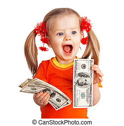 Child girl with money dollar banknote. Isolated.