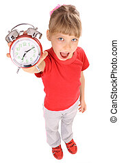 Girl in red t-shirt and alarm clock. - Portrait of girl in...