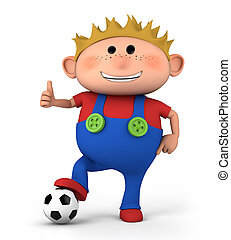 boy with soccer ball - cute little boy with soccer ball...