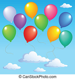 Blue sky with inflatable balloons 1 - vector illustration.
