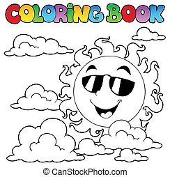 Coloring book with Sun and clouds 1 - vector illustration.