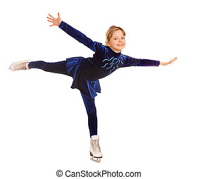 Happy young girl figure skating Isolated