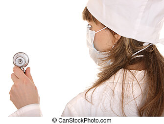 Doctor with stethoscope and mask.