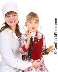 Doctor with stethoscope and child.