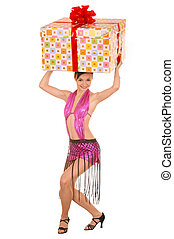 Woman with gift box on head.