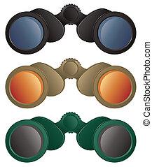 Binoculars - A selection of binoculars in black, tan and...