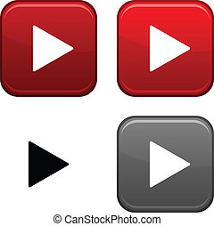 Play button - Play square buttons Black icon included