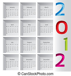 2012 calendar with months inside boxes