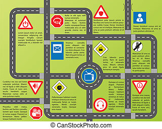 Info graphic with roads and stylish signs - Cool info...