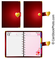 Valentine diary - Love diary closed and open with date