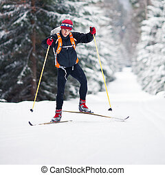 Cross-country skiing - Cross-country skiing: young man...