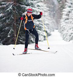 Cross-country skiing - Cross-country skiing: young man...