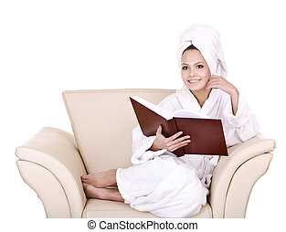 Beautiful girl read book at home Isolated
