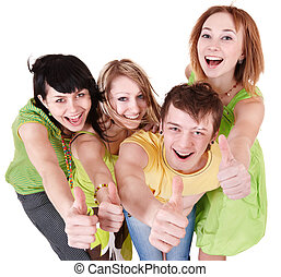 Group of people on white - Group people of teenager Isolated...