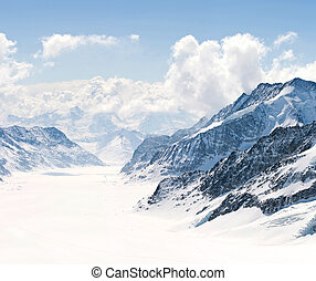 Great Aletsch Glacier Jungfrau Alps Switzerland - Panorama...