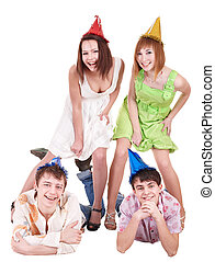 Group of teenager in party hat.