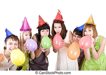 Group of teenagers celebrate birthday.