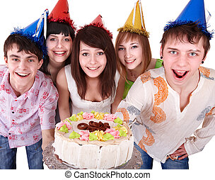 Group people in party hat eat cake.
