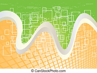 Vector green and orange background; clip-art