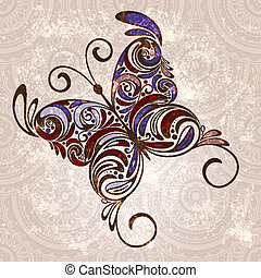 vector hand drawn butterfly on seamless grunge background...