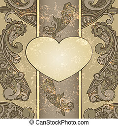 vector heart with paisley pattern and place for your text on  grungy background