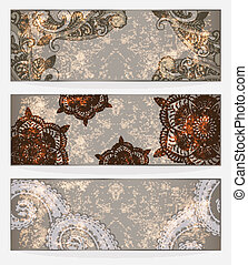 three vector banners with paisley pattern and place for your text on  grungy background