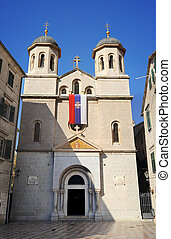 St. Nicholas church on St. Luke square in Kotor old town....