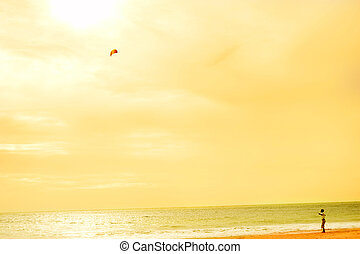 Boy playing wtih flying kite on the ocean beach Sri Lanka
