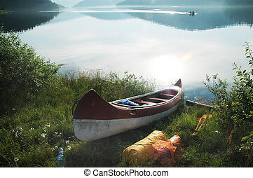 Canoe near the lake