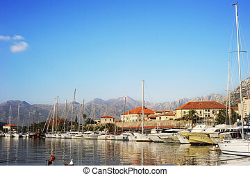 Kotor - A lot of yachts in Kotor harbor, Montenegro