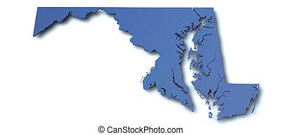 mappa, Maryland, -, Stati Uniti