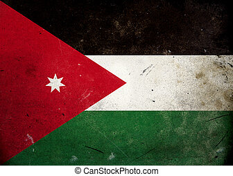 Grunge Flag of Jordan - The flag of Jordan on old and...